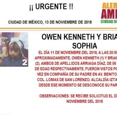 Alerta Amber: Ayuda a localizar a Owen Kenneth y Briana Sophia Arriaga Díaz