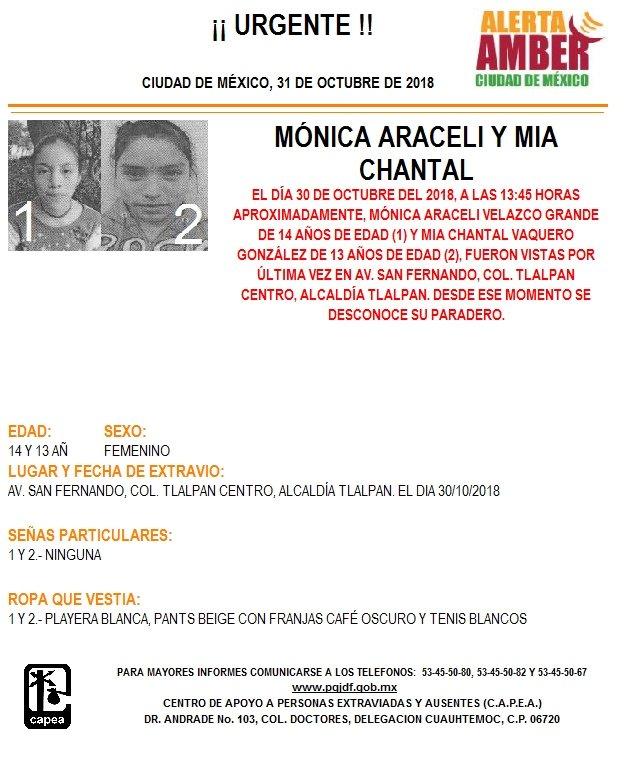 Alerta Amber para localizar Mónica Araceli y Mia Chantal