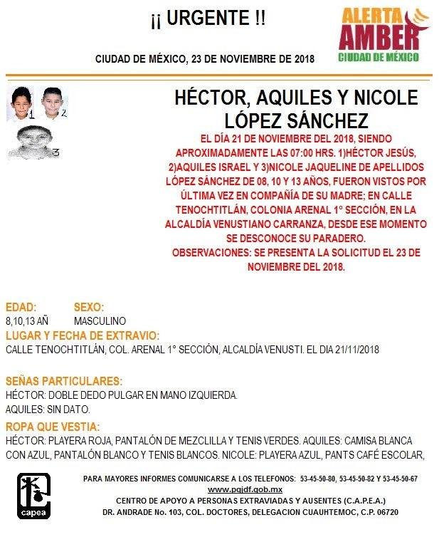Alerta Ámber: ayuda para localizar a Héctor, Israel y Nicole López