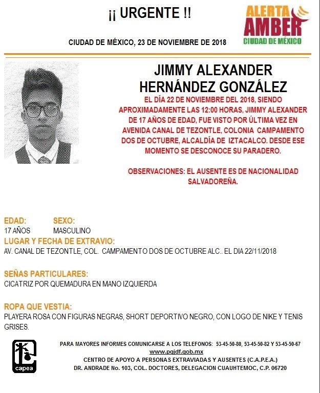 Alerta Ámber: Piden ayuda para localizar a Jimmy Alexander Hernández González