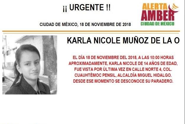 Alerta Ámber: Piden ayuda para localizar a Karla Nicole Muñoz