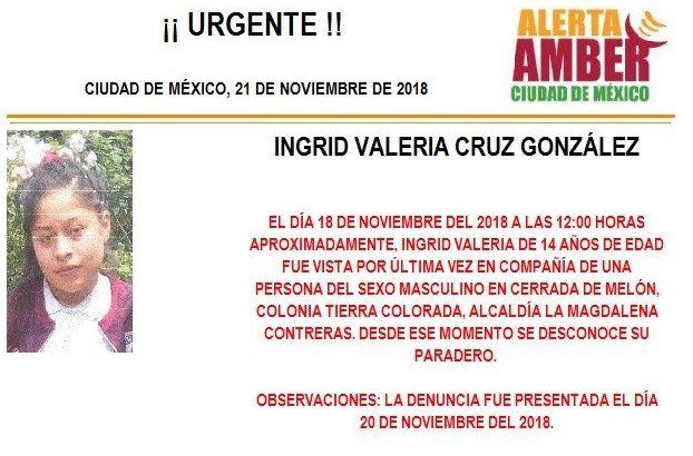 Alerta Amber para localizar a Ingrid Valeria Cruz González, de 14 años