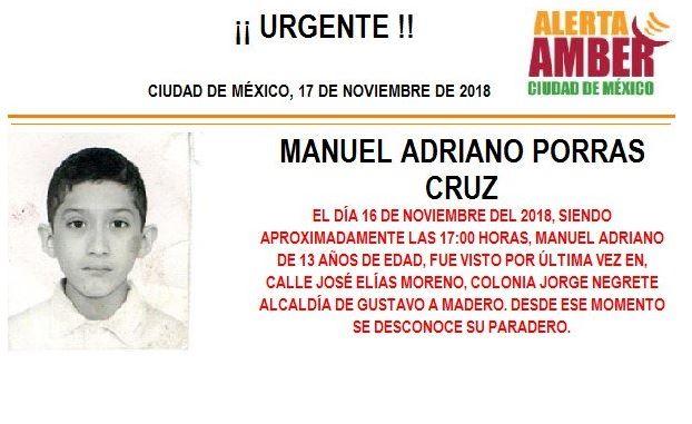 Alerta Amber: Buscan a Manuel Adriano Porras Cruz