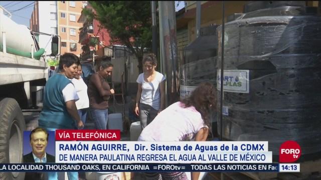 Avanza distribución de agua en la CDMX, dice Ramón Aguirre