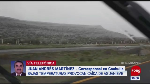 Bajas temperaturas provocan caída de aguanieve en Coahuila