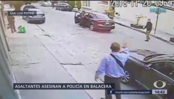 En la colonia Jardines del Estadio, en San Luis Potosí, hubo una balacera entre policías ministeriales y tres sujetos que pretendían asaltar una financiera