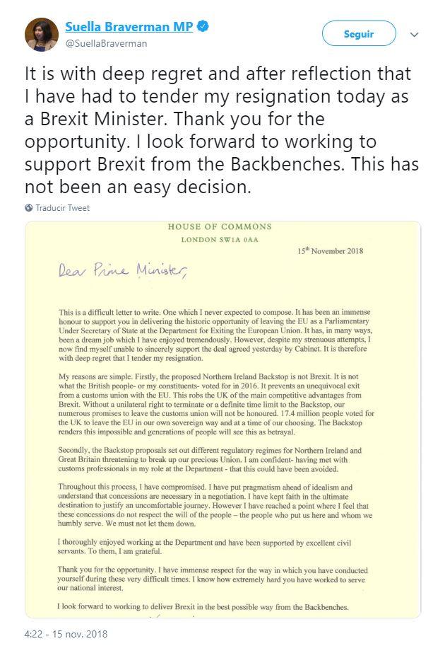 dimiten secretarios britanicos por desacuerdo con borrador del brexit