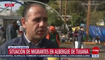 Brindan techo a caravana migrante en Tijuana