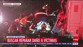 Buscan reparar daño de víctimas en accidente de tráiler en Santa Fe