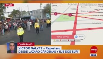 Campesinos afectan Eje Lázaro Cárdenas y Eje 2 Sur, CDMX