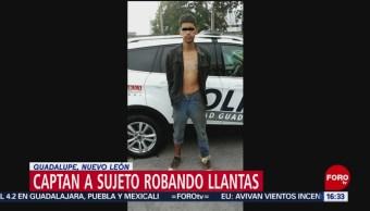 Capturan a sujeto que pretendía robar llantas en Nuevo León