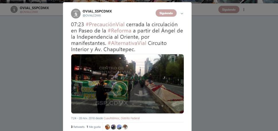 Cerrada la circulación en Paseo de la Reforma