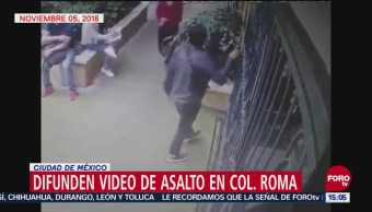 Difunden video de asalto en la colonia Roma, CDMX