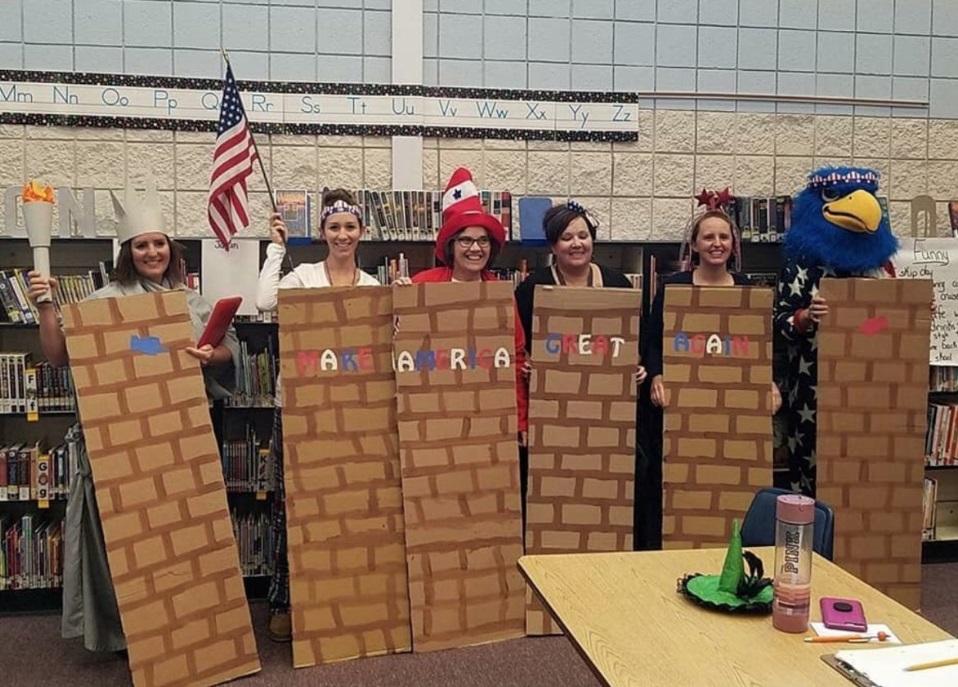 Idaho suspende a maestros por disfrazarse de muro fronterizo