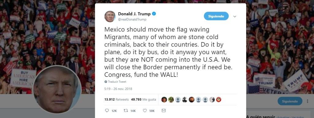 Trump amenaza con cerrar permanentemente la frontera si México no deporta a migrantes
