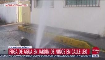Fuga de agua afecta jardín de niños en Coyoacán, CDMX