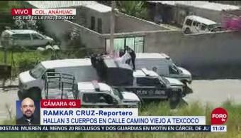 Hallan tres cadáveres en calles de Los Reyes La Paz, Edomex