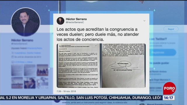 Héctor Serrano renuncia al PRD