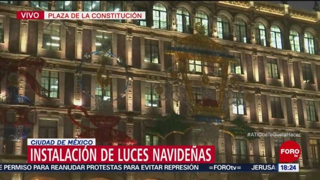 Inicia decoración navideña en Zócalo de la CDMX