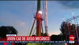 Joven cae de juego mecánico en Tlaxcala