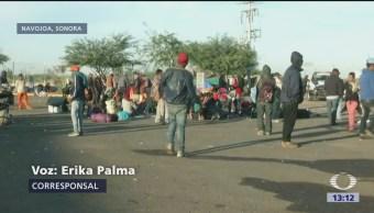 Migrantes Varados Sonora Continuar A EU Cumplen 37 Horas Caravana Migrante
