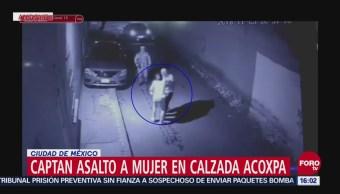 Captan asalto a mujer en calzada Acoxpa en Tlalpan