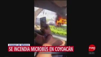 Se Incendia Microbús Coayoacán Unidad Del Transporte Público Cdmx, División Del Norte Calle Crisantema Colonia Ciudad Jardín Alcaldía De Coyoacán No Se Reportan Personas Lesioandas