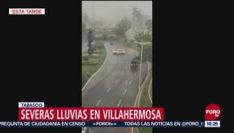 Lluvias provocan encharcamientos en Villahermosa