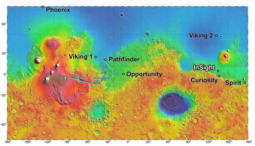 Mapa topográfico que muestra el lugar de aterrizaje de InSight en relación con los lugares de aterrizaje de misiones previas (NASA JPL-Caltech)