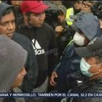 Miembros de caravana migrante discuten con autoridades en Tijuana