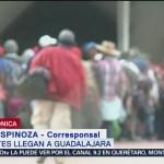 Miembros de la caravana migrante llegan a Guadalajara