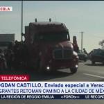 Migrantes centroamericanos salen de Veracruz hacia la CDMX