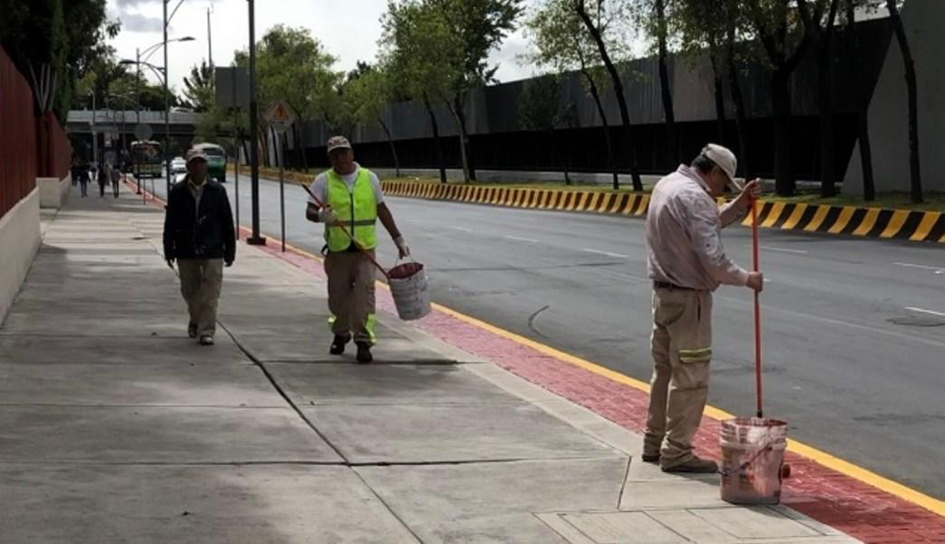 Pintan calles cercanas a San Lázaro para investidura de AMLO