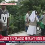 Primera caravana de migrantes llega a Sayula de Alemán, Veracruz