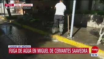 Reportan fuga de agua en la colonia Granada, Miguel Hidalgo