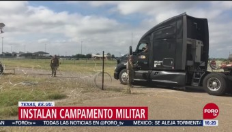 Instalan campamento militar en Texas