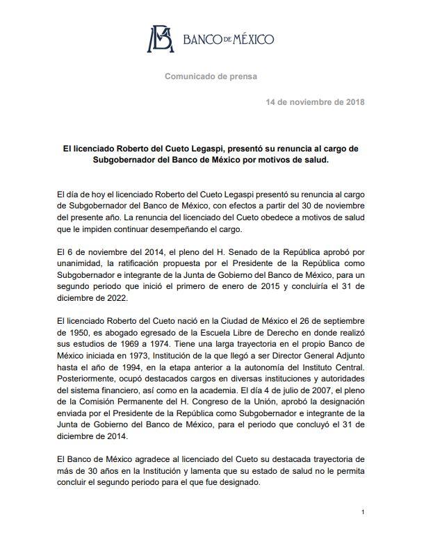 Roberto del Cueto, subgobernador de Banxico renuncia