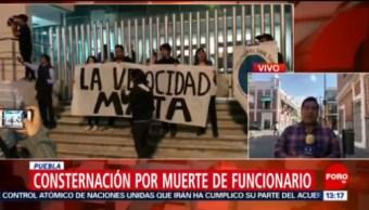 Se Manifiestan Muerte De Funcionario De Movilidad Puebla Familiares Y Amigos Se Manifiestan Emmanuel Vara Zenteno