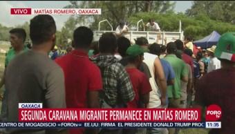 Se mantiene estacionada la segunda caravana migrante en Oaxaca
