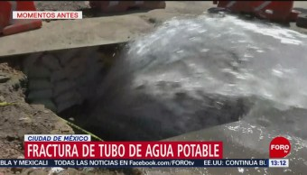 Fuga De Agua En Calles De La Alcaldía Tlalpan, CDMX Personal Del Sistema De Aguas Ciudad De México