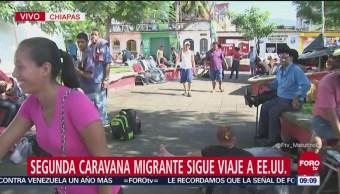 Segunda caravana migrante descansa en Huixtla, Chiapas