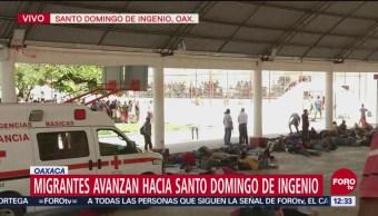Segunda caravana migrante llega a Santo Domingo de Ingenio, Oaxaca