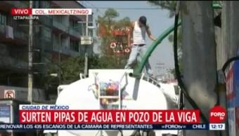 Sigue el suministro de agua mediante pipas en Iztapalapa