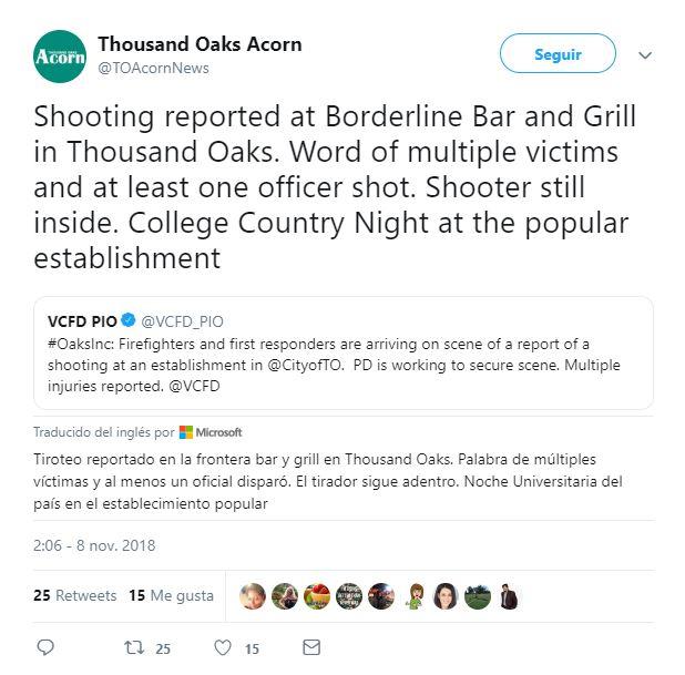 reportan tiroteo en bar de thousand oaks california