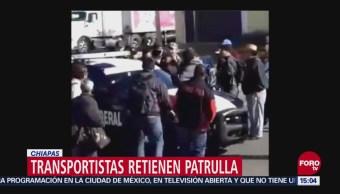Transportistas retienen a policías federales en Chiapas