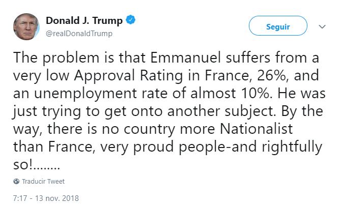 Trump cuestiona la popularidad del presidente francés. (@realDonaldTrump)