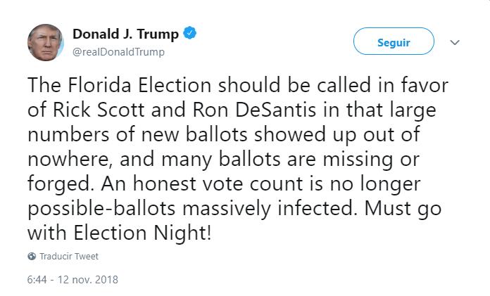 Trump tuitea sobre elecciones en Florida. (@realDonaldTrump)