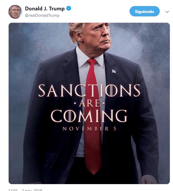 Trump anuncia sanciones a Irán como si fuera estreno de película