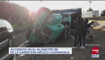 Vialidad afectada por accidente en la carretera México-Cuernavaca