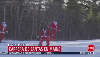 300 Santa Claus cambian el trineo por esquís